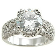 CZ 925 Sterling Silver Rhodium Finish Antique Style Pave Wedding Ring