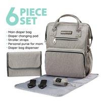 SoHo Backpack Diaper Bag, Wide Opening, Light Gray, 6 Piece Set