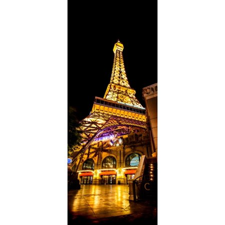 Low angle view of illuminated restaurant Las Vegas Replica Eiffel Tower  Paris Las Vegas Las Vegas Clark County Nevada USA Canvas Art - Panoramic Images (12 x (Best Restaurants In Paris With A View)