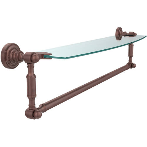 """Dottingham 24"""" Glass Vanity Shelf with Integrated Towel Bar (Build to Order)"""