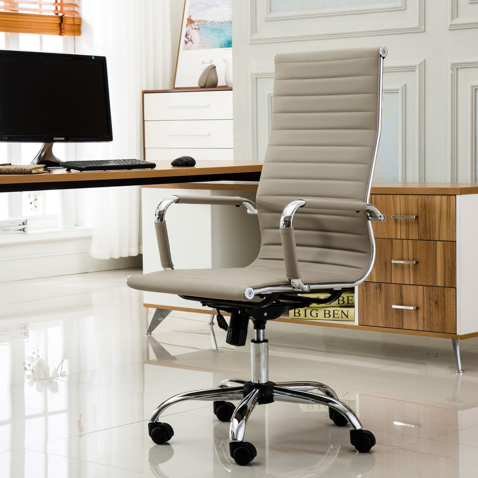 Roundhill Furniture Panoton Chromel Contemporary High Back Office Chair, Taupe