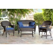 5-Piece Espresso Wicker Patio Chair, Loveseat & Table Furniture Set Blue Cushions by CC Outdoor Living
