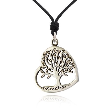 New Oak Tree of Life Heart Silver Pewter Charm Necklace Pendant Jewelry With Cotton Cord (Tree Of Life Jewelry)