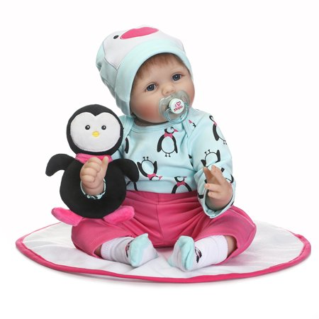NPK Collection Reborn Baby Doll Soft Silicone 22inch 55cm Magnetic Lovely Lifelike Cute Lovely Baby toy penguins (Cute Doll Halloween Makeup)