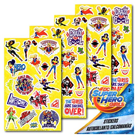 DC Super Hero Girls Stickers - 4 Sheets - Super Hero Stickers