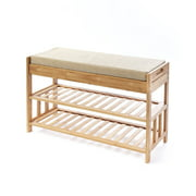 Bamboo Entryway Bench with Shoe Rack and 2-Drawer Seat Storage