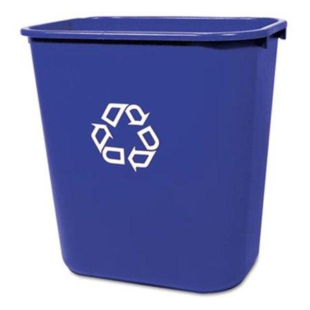 Medium Deskside Recycling Container  Rectangular  Plastic  28 1/8 qt  Blue