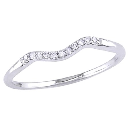 White Natural Diamond Accent Curved Wedding Band Ring In 14k White Gold Over Sterling Silver (0.06 Cttw)