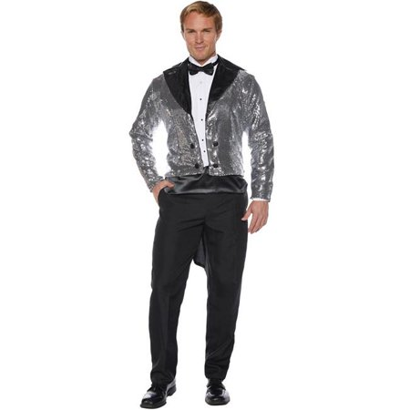 Underwraps UR29869STD Adult Silver Standard Sequin Tailcoat, One Size Fit Most 42-44 - image 1 of 1