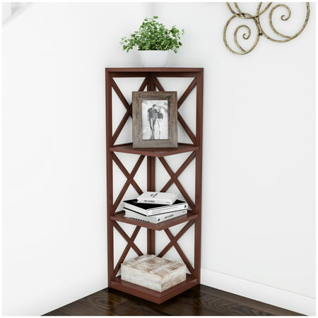 4 Shelf Corner Bookcase Open Criss Cross Style Etagere Shelving Unit For Decoration Storage