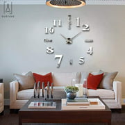 "GustaveDesign Large 3D Frameless Wall Clock Stickers DIY Wall Decoration for Living Room Bedroom ""Silver"""