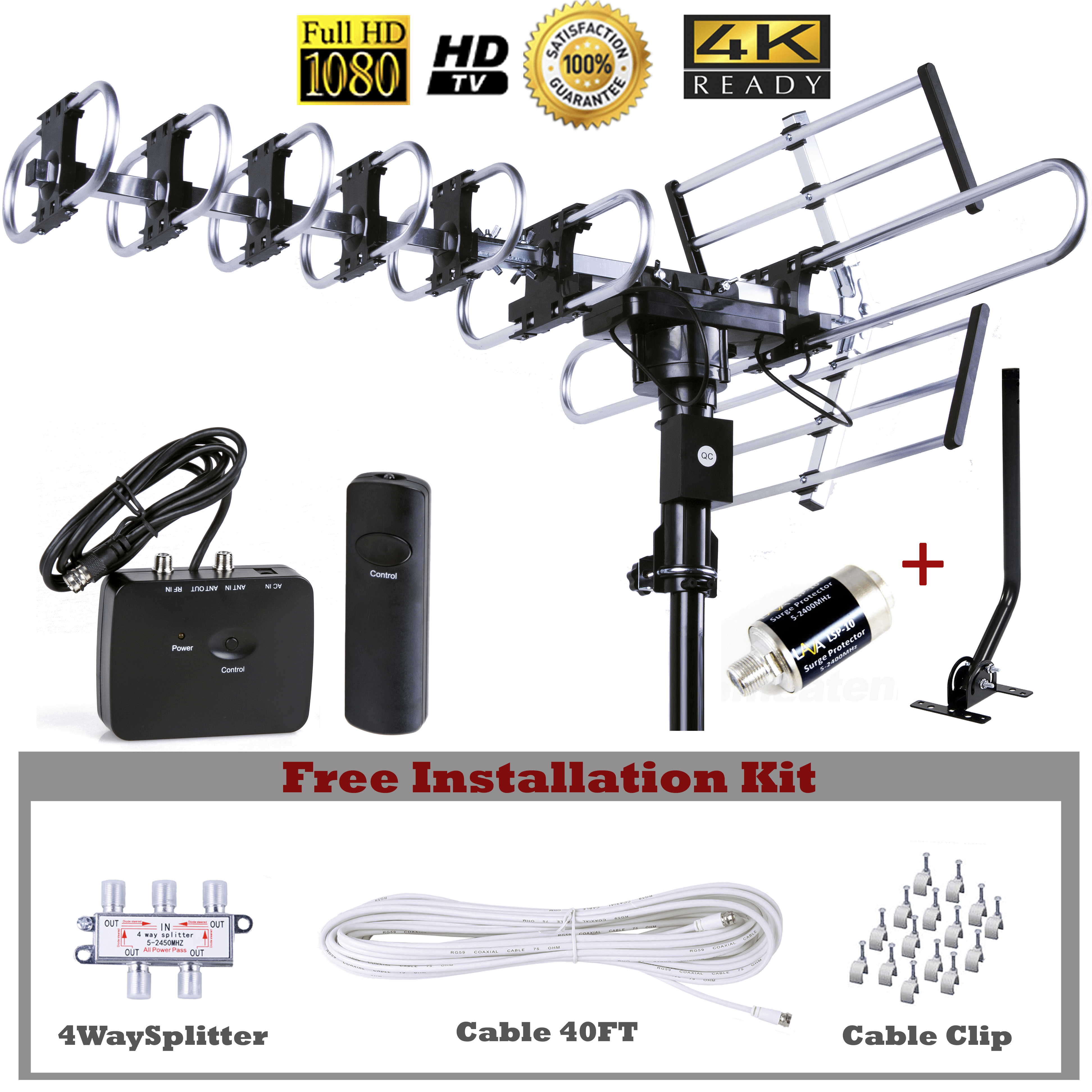 [Installation Kit + J-POLE + Surge Protector]Up to 200 Miles Long range Five Star Outdoor 4K HDTV Antenna with 360 Degree Rotation, UHF/VHF/FM Radio with Remote Control