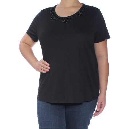 RALPH LAUREN Womens Black Beaded Short Sleeve Scoop Neck Top Size: XL
