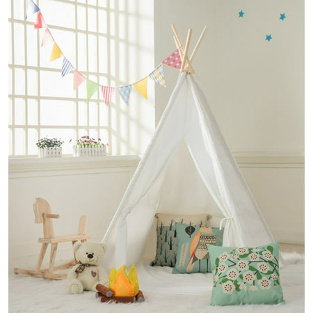 Kids Teepee Tent -100% Natural Canvas Children Tent with (The Best Canvas Tents)