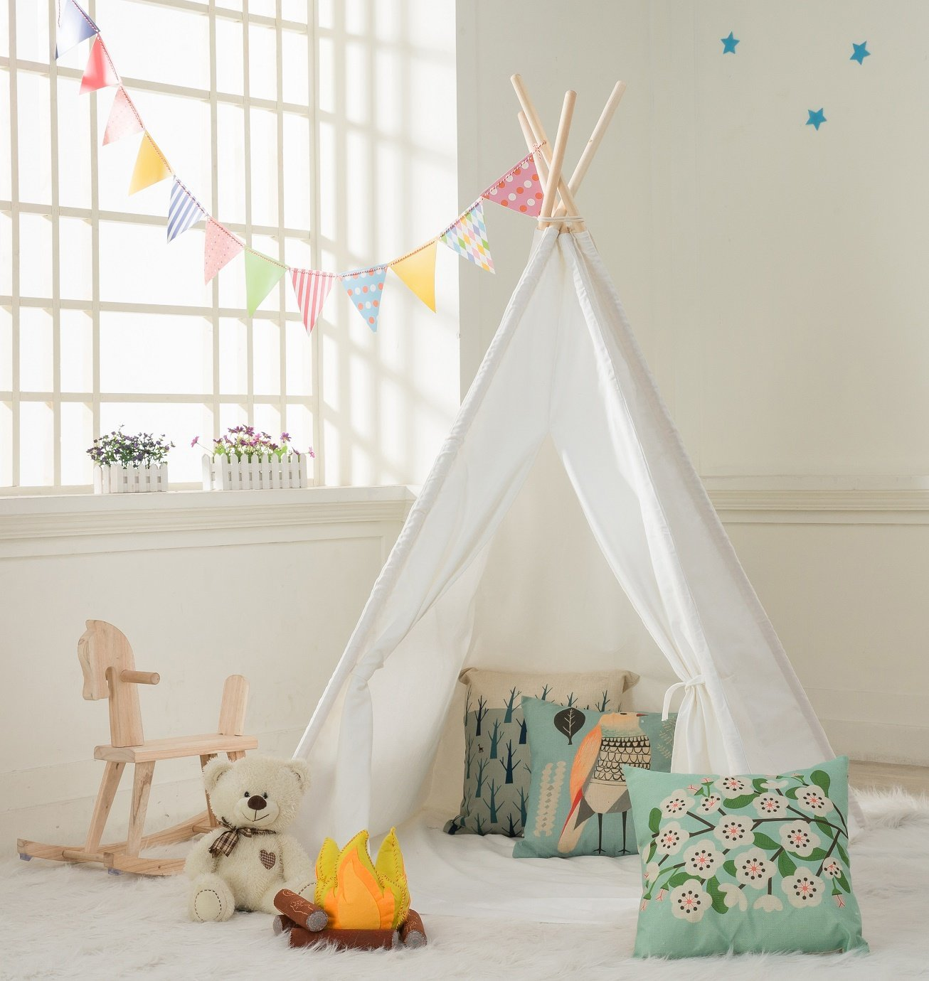 Kids Teepee Tent -100% Natural Canvas Children Tent with Mat