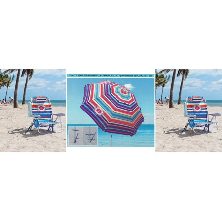 2 Tommy Bahama Backpack Cooler Beach Chairs & 1 Beach Umbrella (2 Blue Chairs + 1 Blue Umbrella) MULTI