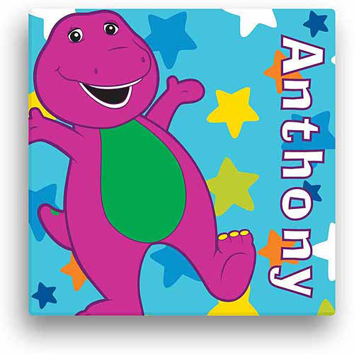 "Personalized Barney Star 11"" x 11"" Canvas Wall Art"