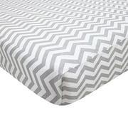 TL Care 100% Cotton Fitted Mini Crib Sheets, Grey Chevron