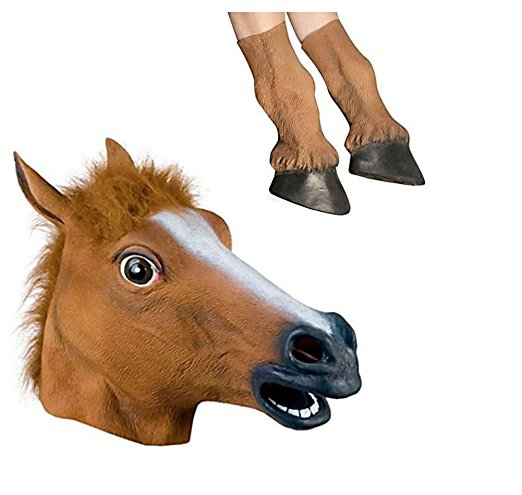 Novelty Halloween Costume Party Latex Animal Mask (Horse Head Mask + Hooves)