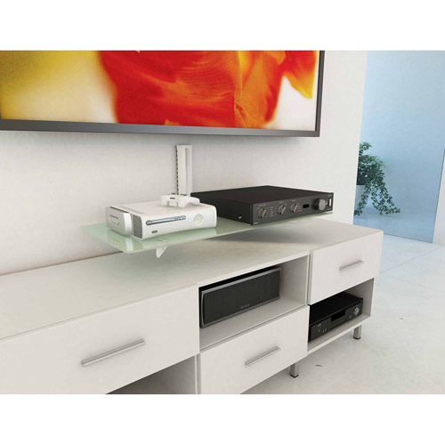 CorLiving C-813-SCM 35 in. Wide Component Wall Shelf - White