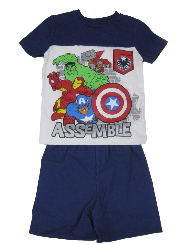 "Marvel Little Boys Navy White ""Assemble"" Super Hero 2 Pc Shorts Outfit"