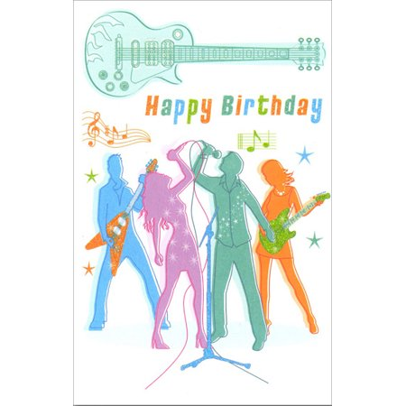 Freedom Greetings Guitar Band Belated Birthday Card