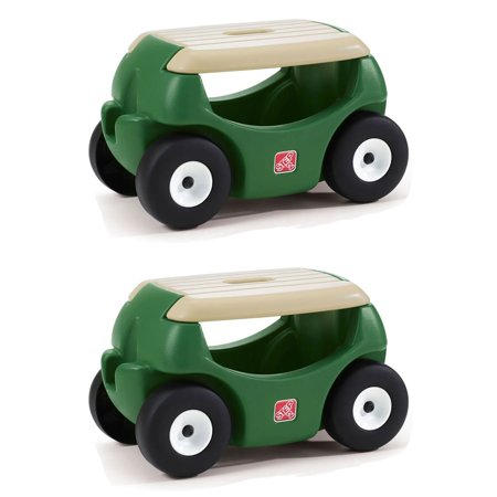 Step2 Plastic Mobile Cart Storage Garden Hopper w/ Work Seat, Green (2 Pack) - Seating Chart Ideas