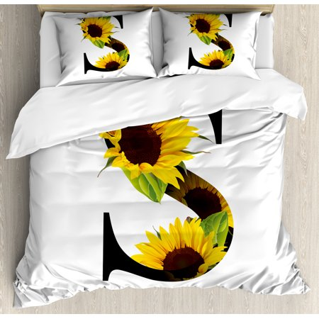 Letter S Queen Size Duvet Cover Set, Letter S with Flora Elements Sunflowers on Dark Colored Abstract Art Print, Decorative 3 Piece Bedding Set with 2 Pillow Shams, Yellow Green Black, by Ambesonne ()