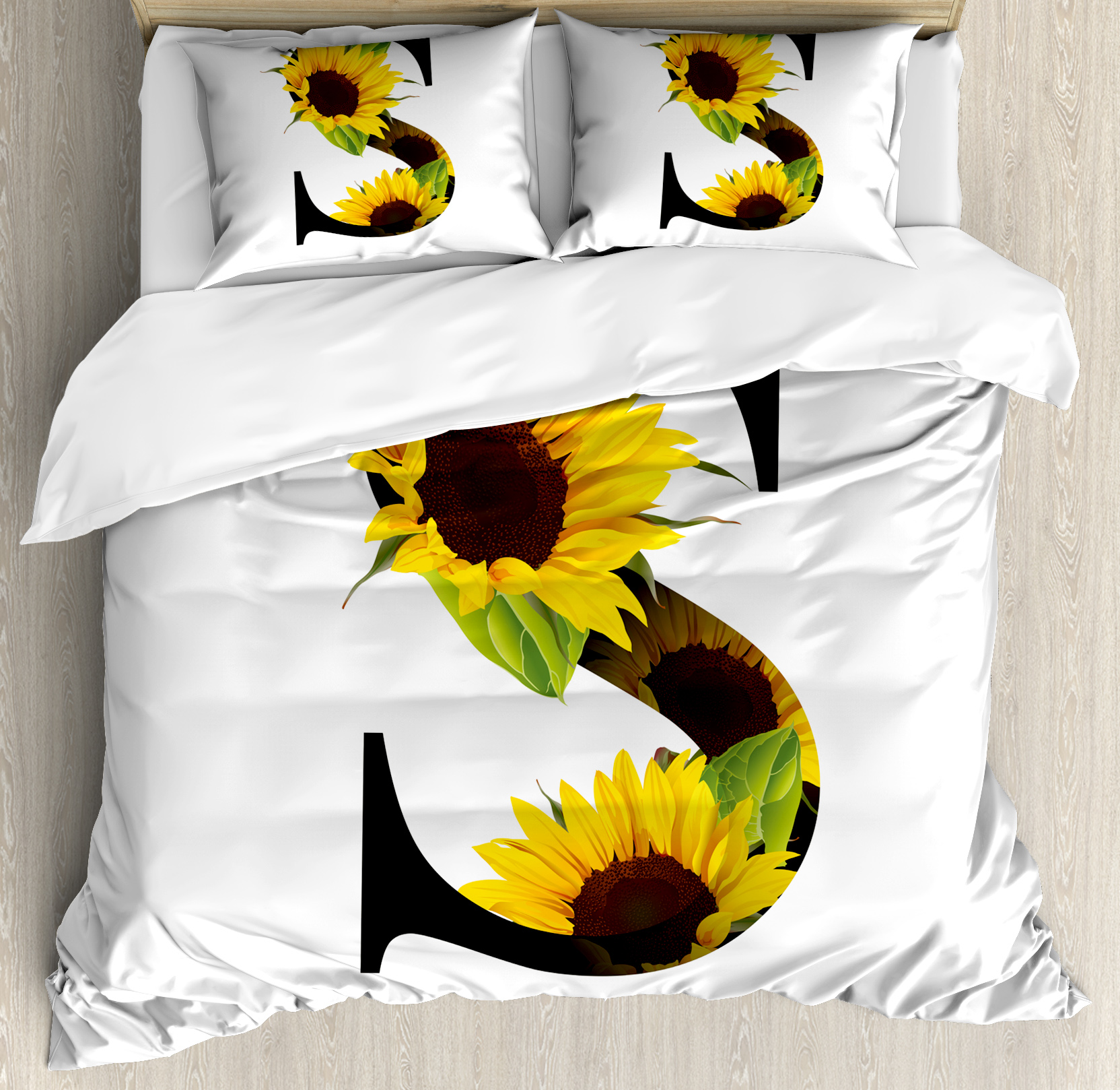 Letter S Queen Size Duvet Cover Set, Letter S with Flora Elements Sunflowers on Dark Colored Abstract Art Print, Decorative 3 Piece Bedding Set with 2 Pillow Shams, Yellow Green Black, by Ambesonne