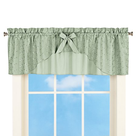 Eyelet Ruffled Window Curtain Valance Topper with Rod Pocket Top - for Kitchen or - Eyelet Window