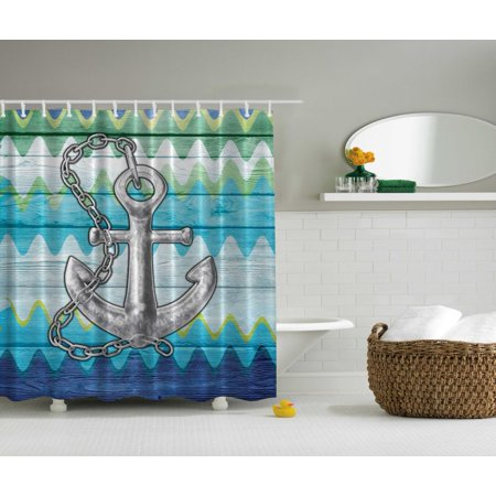 Nautical Anchor Decor Chevron Steel Chain Fantastic Art Prints Shower Curtain