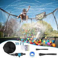 JoyX Trampoline Waterpark Sprinkler 39 FT Automatic Spray Water Tube for Outdoor Recreation Fun Summer Outdoor Water Game Toys Trampoline Accessories Outdoor Cooling System. No Tools Required