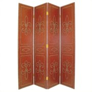 Wayborn Nailhead On Leather Room Divider in Red and Brown