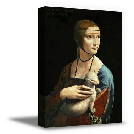 Awkward Styles Leonardo Canvas Wall Art Lady with an Ermine Italian Artist Leonardo da Vinci Framed Oil Painting Women Portrait Painted by Leonardo Calssic Artwork Home Decor Ready to Hang Picture - Lady Oil Painting