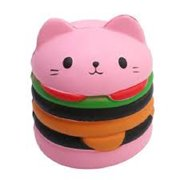 PINK HAMBURGER CAT SQUISHY TOY SUPER SLOW RISING SQUEEZE SCENTED SQUISHIES