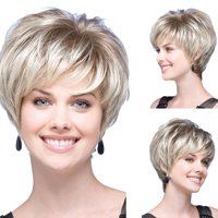 〖Follure〗Women Natural Short Wavy White Gradient Wig Rose Net Synthetic Curly Wigs