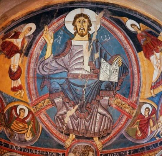Christ in Majesty  12th Century  Artist Unknown  Fresco  Museo de Arte de Cataluna Barcelona Canvas Art -  (18 x 24)