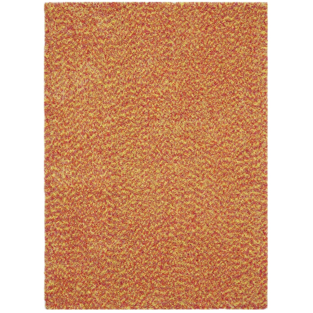 Ancora Vivoli Yellow/ Pink/ Orange Shag Rug (5' x 7')