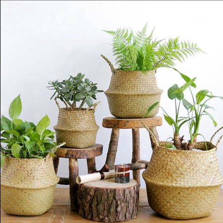- Sweetsmile Home Seagrass Wickerwork Basket Foldable Rattan Hanging Flower Plant Pot Woven Eco-Friendly Dirty Laundry Storage Basket Garden Accessories Clearance Hot