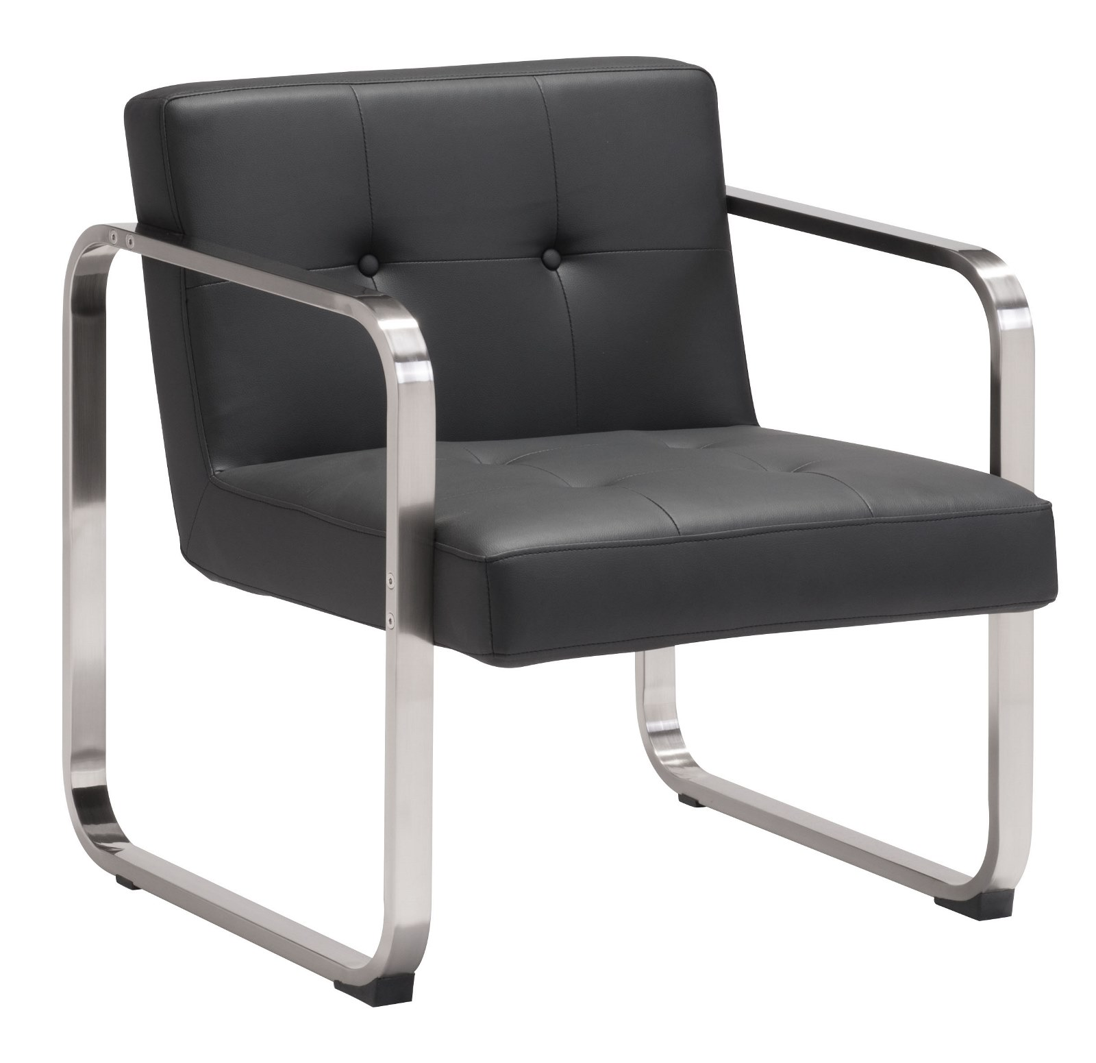 Modern Contemporary Living Room Arm Chair, Black Leatherette Brushed Stainless Steel