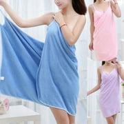 Bath Wearable Towel Dress Girls Women Lady Fast Drying Beach Spa Bath Blanket