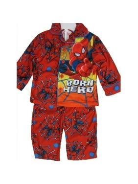 Little Boys Red Superhero Print Button Down 2 Pc Pajama Set 2T-5T