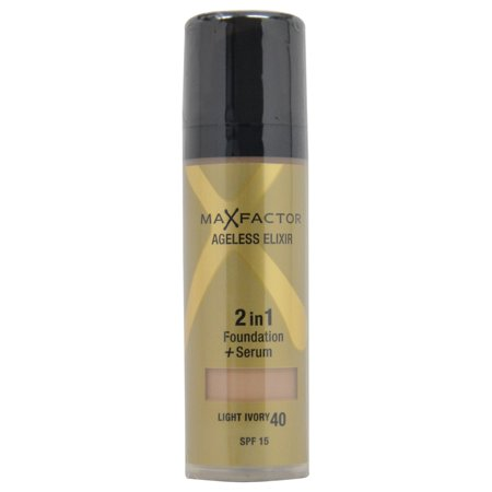 Max Factor Ageless Elixir 2 In 1 Foundation   Serum With Spf 15  40 Light Ivory  1 01 Oz