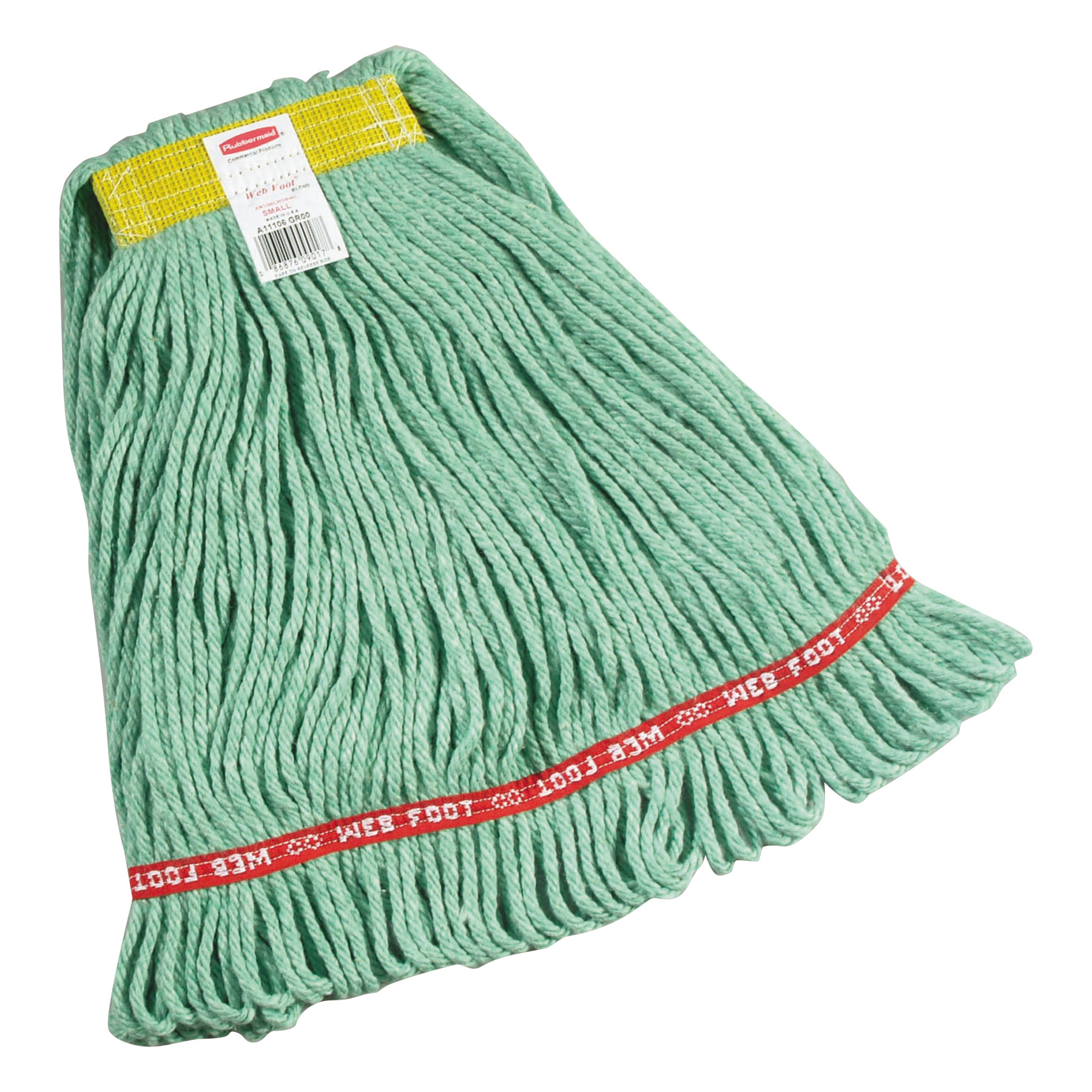 Rubbermaid Commercial Web Foot Small Green Cotton/Synthetic Wet Mops, 6 count