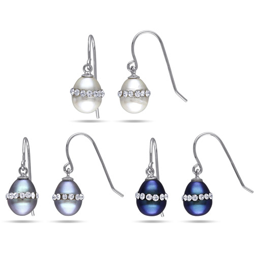 7-7.5mm Multi-Color Rice Cultured Freshwater Pearl and White Crystal Sterling Silver Dangle Earrings, Set of 3