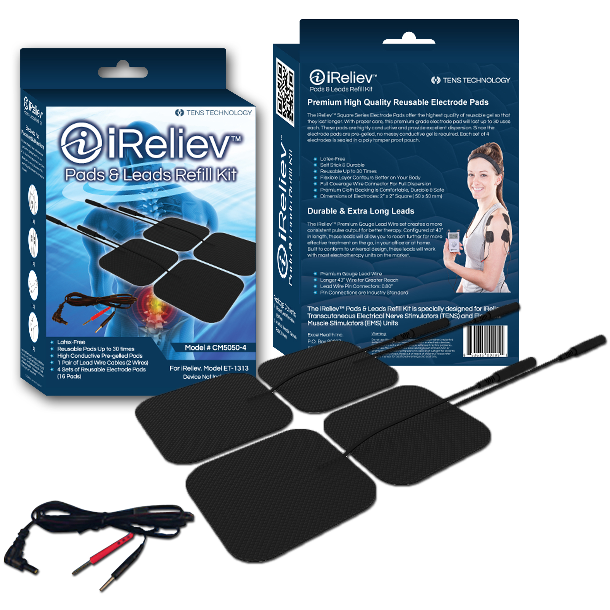 Electrode Pads & Leads Refill Kit for TENS Unit or EMS Muscle ...