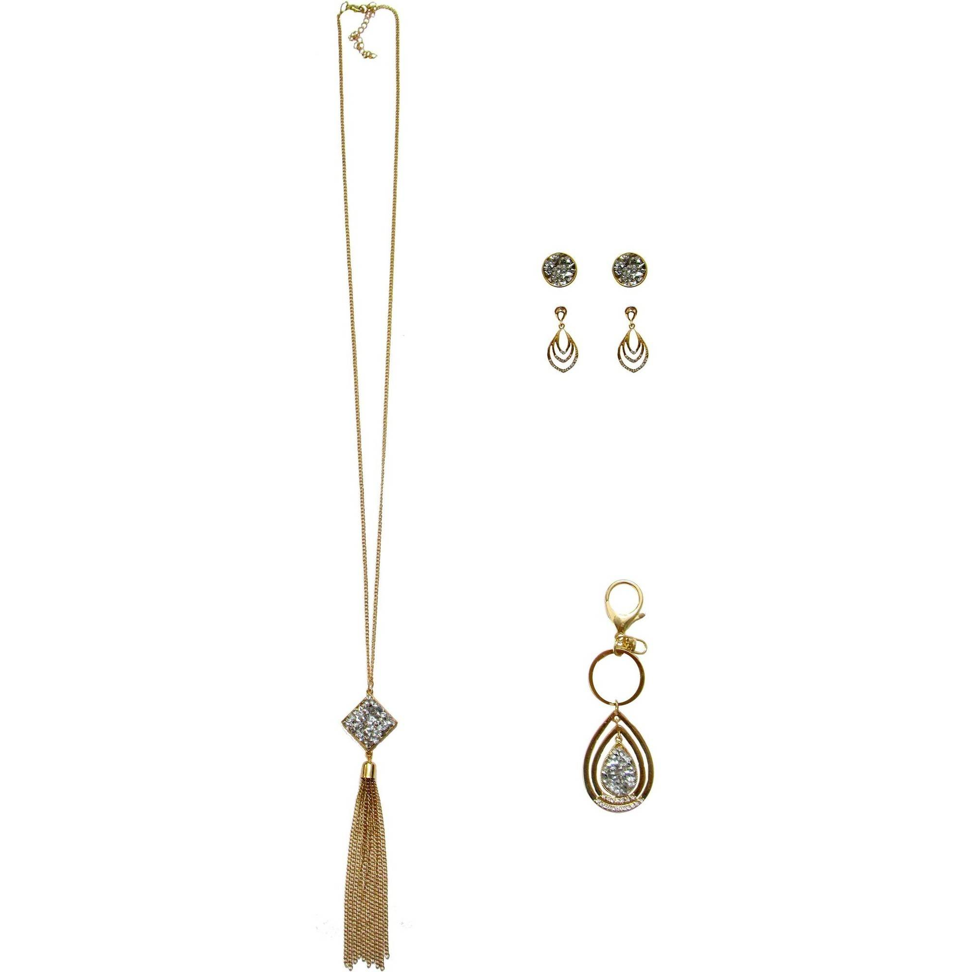 Gold-Tone Pendant Necklace, Trio Earrings and Key Ring Gift Set, 3-Piece