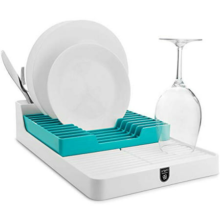 Crippa Dish Drying Rack   Plastic Dish Rack and Drainboard Set (2-pieces)    Space-saving Kitchen Dish Rack W/ 3 Utensil Holders   Turquoise Dish ...