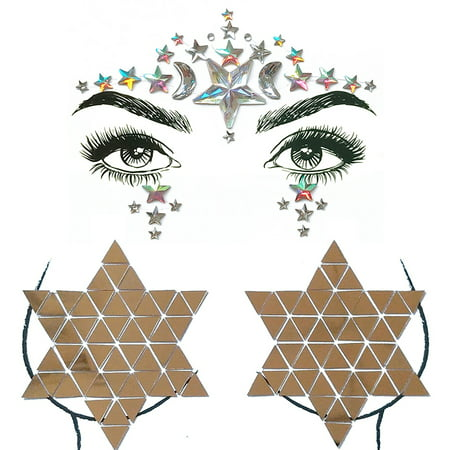 Big Classic Ceremony Face Breast Bling Gem Kit Cluster Self Adhesive Sticker On Jewels Body Decoration Rhinestone Temporary Tattoo Jewels Festival Party Glitter Stickers Easy To Operate (Big Gems)