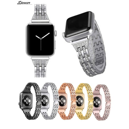 Spencer Diamond Rhinestone Metal Strap Wrist Replacement iWatch Bling Bands 38mm 40mm Compatible for Apple Watch iWatch Band Series 4&3&2&1 Edition,